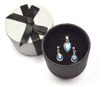 A SPECIAL OFFER Rainbow Moonstone Silver Pendant & Earring set Teardrops